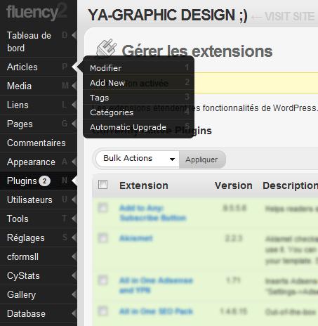 Le plugin Fluency Admin 2.0 compatible avec WordPress 2.7
