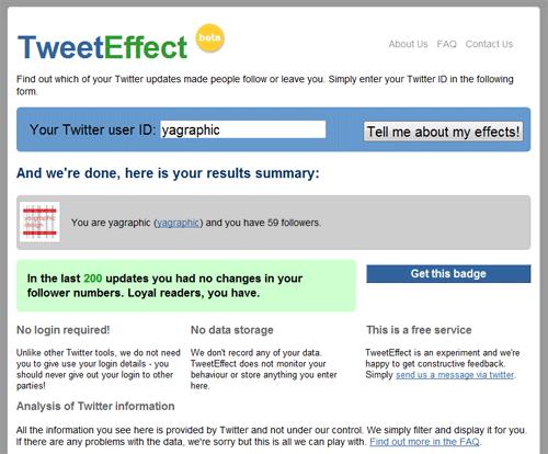 Tweeteffect, outil Twitter pour voir les abonnements et les désabonnements