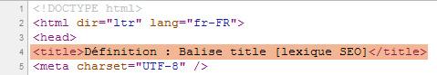 Capture d'écran d'une balise Title dans le code source