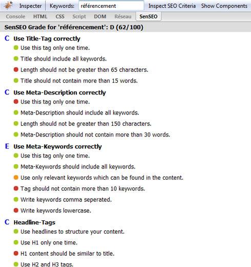 Les critères SEO de l'extension Senseo