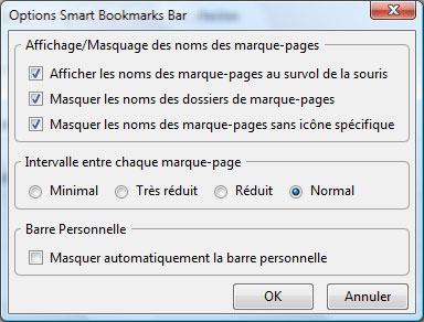 Smart Bookmarks Bar module pour Firefox
