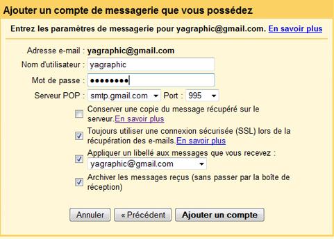 Paramètres POP messagerie Gmail