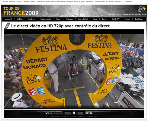 Voir le Tour de France 2009 en qualité HD (streaming)