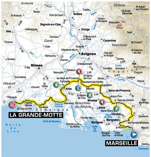 Parcours Tour de France Marseille - La Grande-Motte