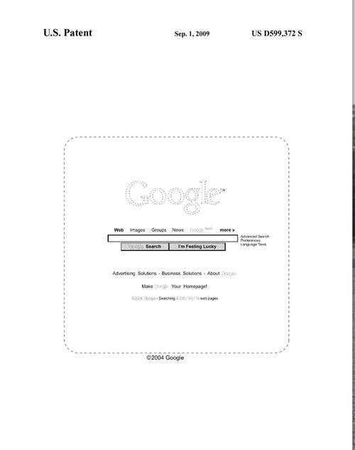Le modèle de page d'accueil breveté par Google