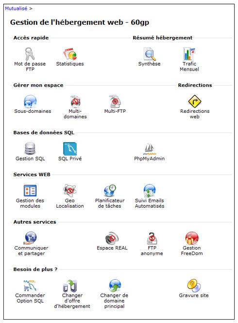 Dans la partie Hébergement, cherchez la section Services WEB