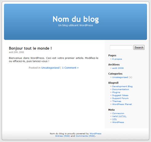 Votre blog WordPress est en ligne.