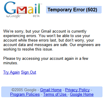 Gmail est en panne ? Essayez le widget Gmail de iGoogle !