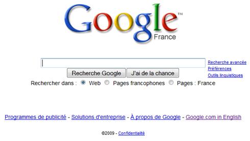 Page d'accueil de Google [Fr]