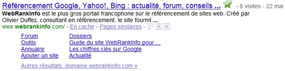 Sitelinks du site d'actualités référencement Webrankinfo.com