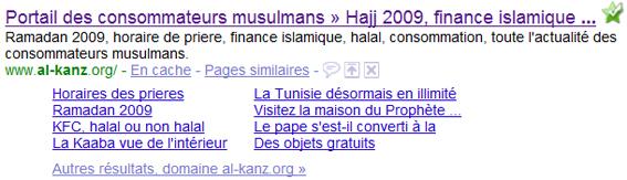 Sitelinks du portail des consommateurs musulmans Alkanz.org