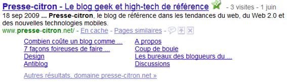 Sitelinks de Presse-citron.net