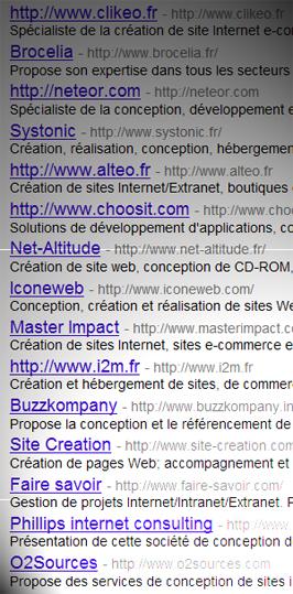 Liste d'agences Web