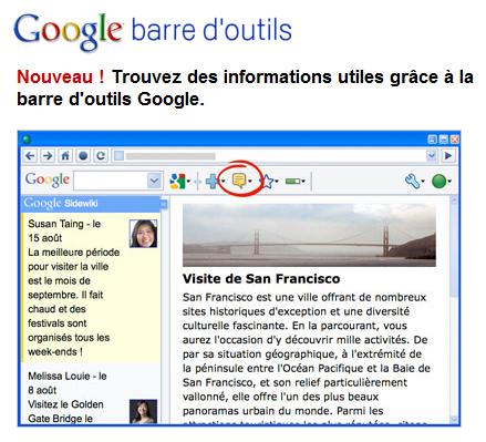 Barre d'outil de Google