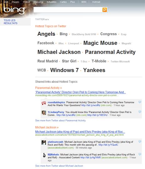 La recherche Twitter via Bing