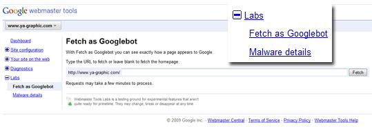 Dans Google Webmaster Tools - Fetch, le robot de Google