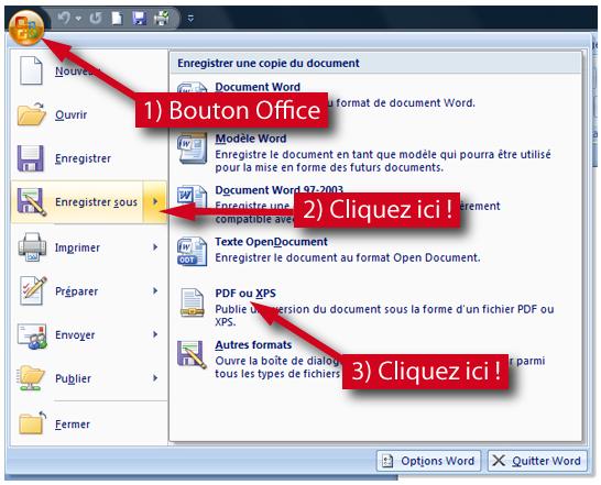 Comment enregistrer un document Word (.doc) au format PDF (.pdf) ?