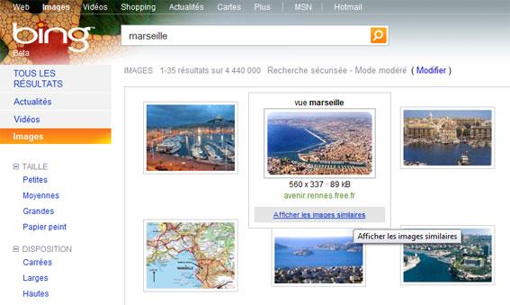 Recherche d'images similaires avec Bing