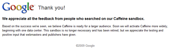 Google Caffeine - www2.sandbox.google.com