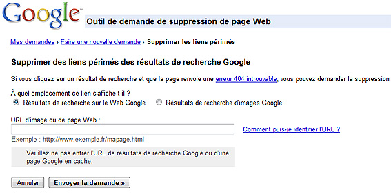 Outil de demande de suppression de page Web
