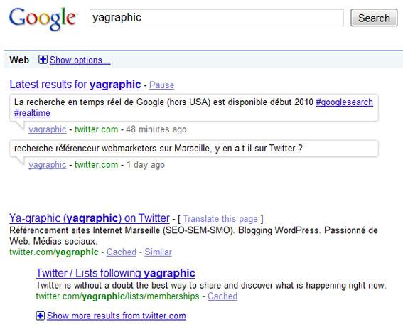 Messages de Twitter - Recherche en temps réel de Google