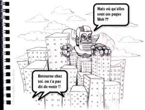 Robot au milieu d'une ville avec des buildings