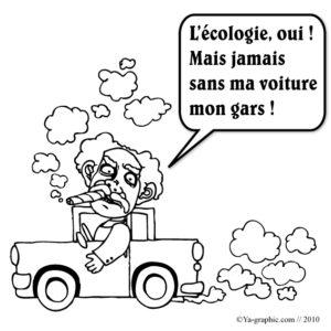 Dessin d'un homme en voiture. Il pollue le monde.