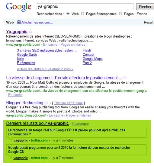 La recherche en temps réel de Google.fr