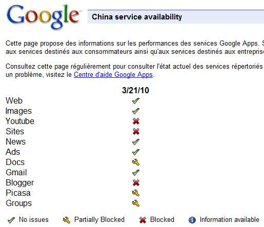 Services Web de Google en Chine