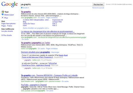 Résultats de recherche de Google