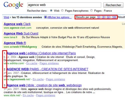 Numérotation du classement dans les SERP de Google