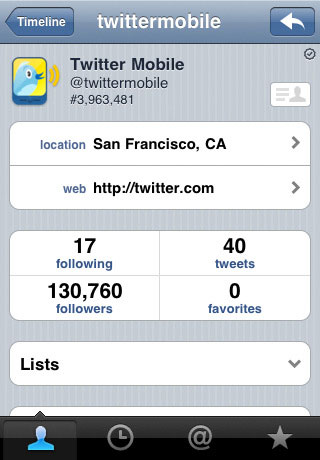 Application iPhone Twitter