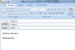 Composez votre message sur Outlook