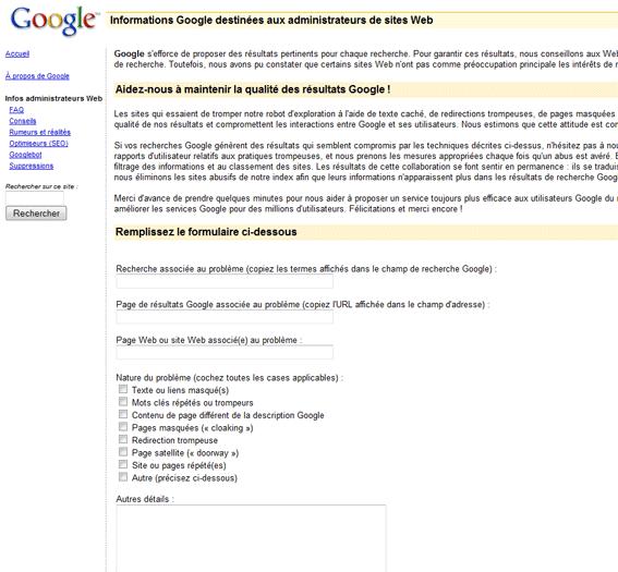 Google délation sites malhonnêtes qui trompent les utilisateurs