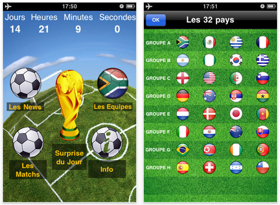 application iphone coupe du monde 2010