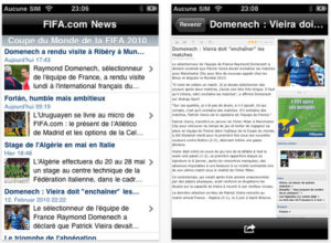 application iphone Coupe du Monde 2010 News Fifa