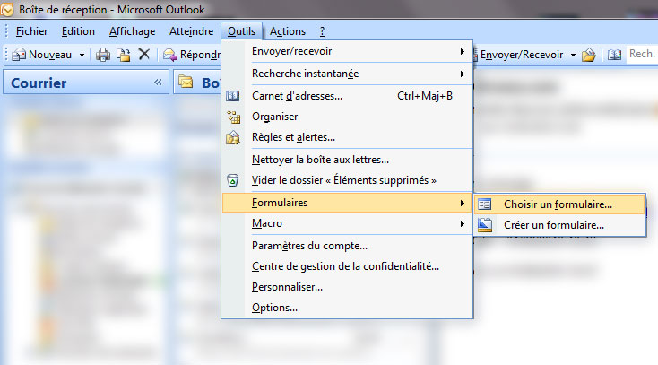 Nouveau message Outlook 2007