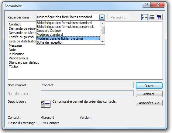 Créer nouveau message Microsoft Outlook 2007