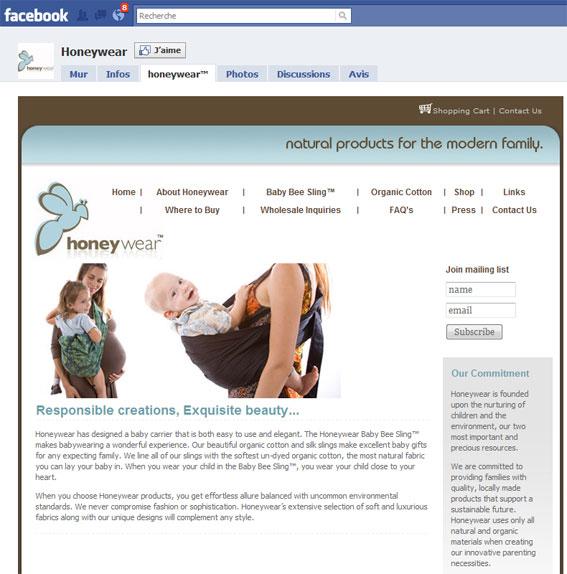 Page Facebook Honeywear