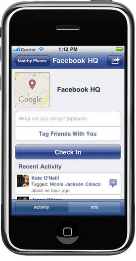 Facebook Places sur iPhone