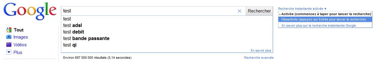 Comment désactiver Google Instant ?
