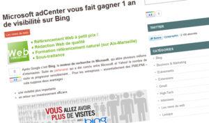 Billet sponsorisé pour Microsoft AdCenter