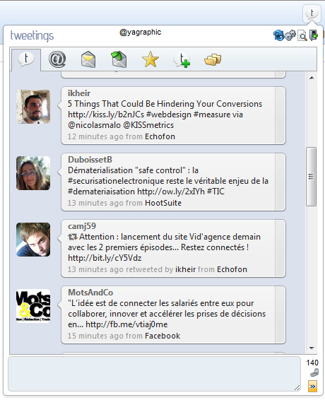 Tweetings for Twitter : client Twitter pour chrome