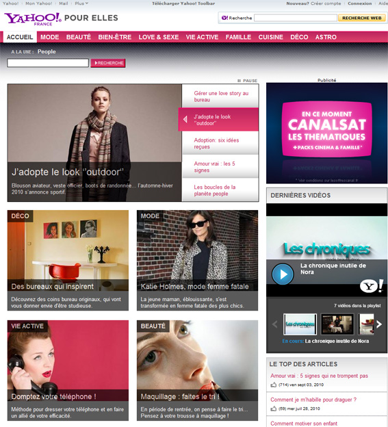 Yahoo! Pour Elles site féminin