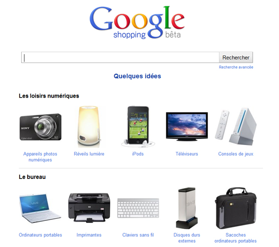 google shopping français en version bêta