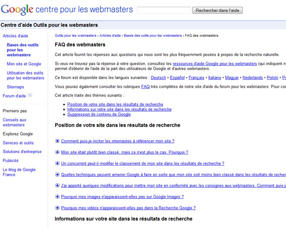 FAQ des webmasters par Google