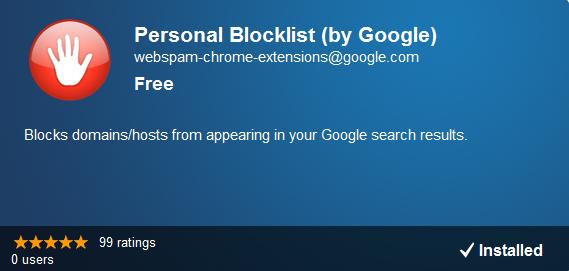 Personnal blocklist (par Google)