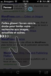 Google mobile App pour iPhone, glisser l'écran