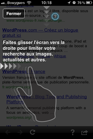 Google mobile App pour iPhone, glisser l'écran