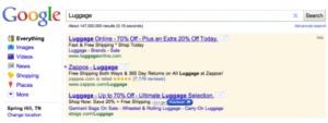 Le +1 de Google dans les liens sponsorisés.